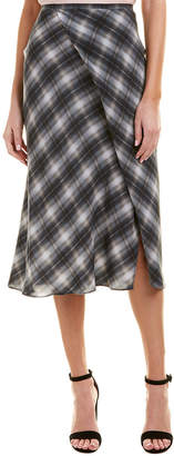 Vince Plaid Silk Midi Skirt