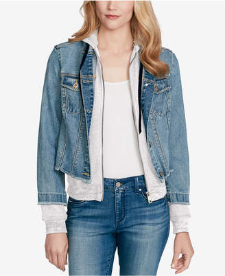 Jessica Simpson Juniors' Peony Cotton Denim Hoodie Jacket