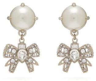 Miu Miu Crystal Bow And Faux Pearl Earrings - Womens - Pearl