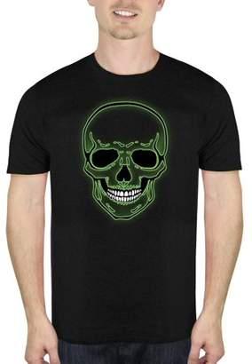 HALLOWEEN Neon Skull Men's Halloween Humor Graphic T-shirt, up to Size 5XL