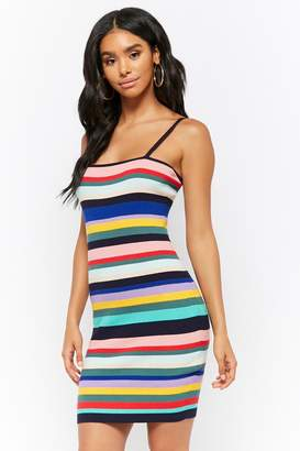 Forever 21 Ribbed Knit Multicolor Striped Bodycon Dress