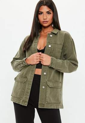 Missguided Khaki Denim Oversized Utility Jacket
