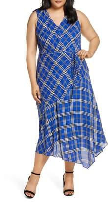 Vince Camuto Highland Plaid Asymmetrical Sleeveless Dress