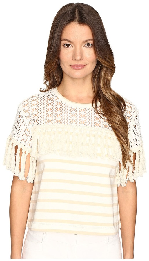 See By Chloe See by Chloe - Jersey Fringe Blouse Women's Blouse
