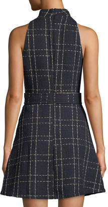 Neiman Marcus Belted Mock-Neck Fit & Flare Dress
