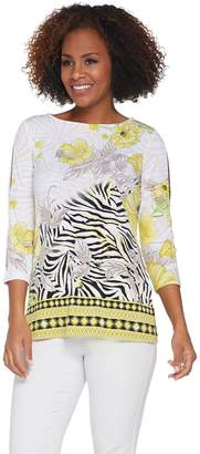 Susan Graver Printed Liquid Knit Split Sleeve Top