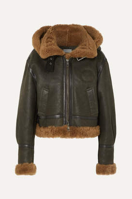 Chloé Cropped Hooded Shearling Jacket - Army green
