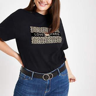 River Island Plus black 'Love Paris' leopard print T-shirt