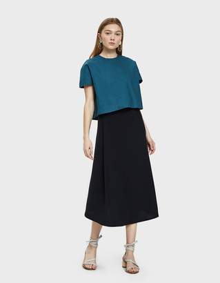 Kaarem Stream Deep Pleated Midi Skirt in Black Blue