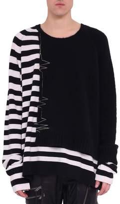 Haider Ackermann Muscari Black Panelled Wool Bledn Sweater