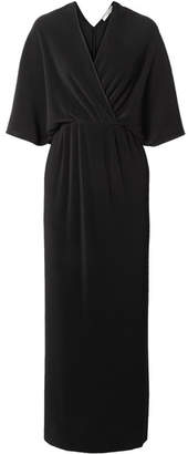 The Row Bello Wrap-effect Plissé-jersey Maxi Dress - Black