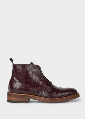 Paul Smith Women's Burgundy Mock-Croc Leather 'Jarman' Boots