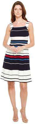 Adrianna Papell Sleeveless Ottom Stripe Fit and Flare Dress Women's Dress