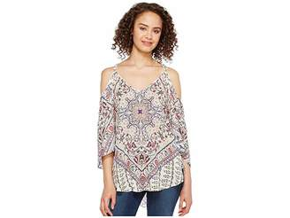 Hale Bob Beach Belle Rayon Dot Woven Cold Shoulder Top Women's Clothing