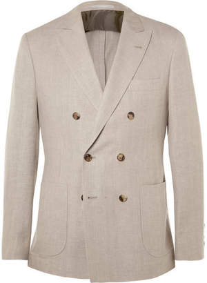 Brunello Cucinelli Stone Double-Breasted Linen, Wool and Silk-Blend Blazer