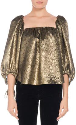 Saint Laurent Square-Neck Golden-Jacquard Metallic-Silk Blouse