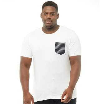 Brave Soul Mens Plus Size Generate T-Shirt White/Navy
