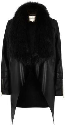 River IslandRiver Island Womens Black faux fur trim waterfall jacket