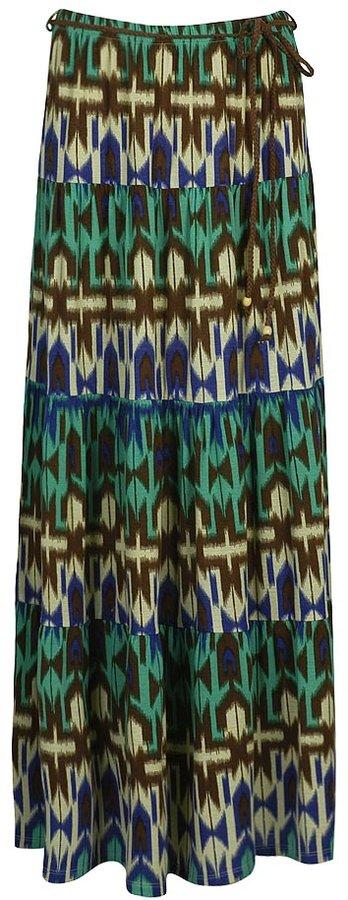 Abstract Knit Skirt w/ Belt