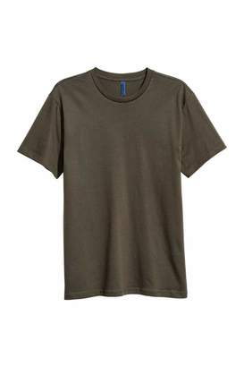 H&M Round-necked T-shirt - Burgundy - Men