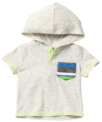 Andy & Evan Marbled Grey Henley Hooded Shirt (Baby Boys)