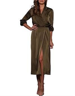 Elle Zeitoune Devin Wrap Long Sleeve Collared Dress