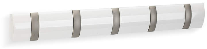 Flip Hook 5er Garderobenleiste, Weiß glänzend lackiert