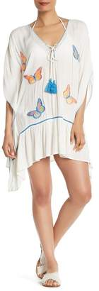 Z&L Europe Embroidered Butterfly Poncho Top