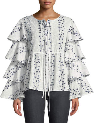 Lumie Embroidered Tiered-Ruffle Sleeve Blouse