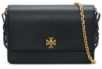 Tory Burch Kira Black Leather Double Shoulder Strap Bag