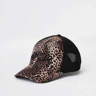 River Island Black leopard print mesh baseball cap