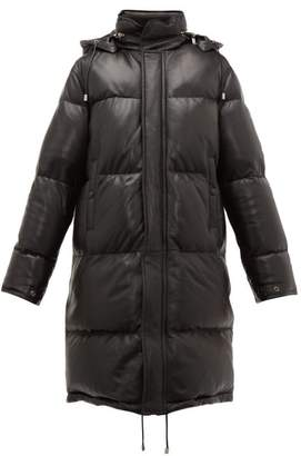 Saint Laurent Quilted Down Filled Leather Coat - Womens - Black