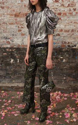 Michael Kors Draped Puff Sleeve Silk-Blend Blouse