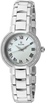 Bulova Women's Fairlawn White Diamond (0.20 ctw) White MOP Patterned Dial Stainless Steel