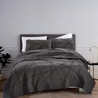 California Design Den Crazy Ruffled Quilt Set Charcoal King