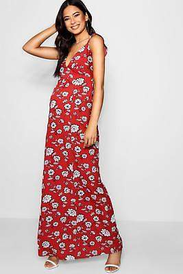 boohoo NEW Womens Maternity Floral Ruffle Plunge Maxi Dress in Polyester