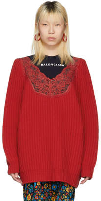 Balenciaga Red Wool Lingerie V-Neck Sweater