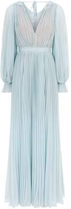 Self-Portrait Chiffon Pleated Maxi Dress