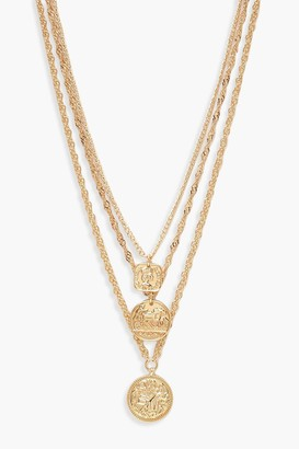 boohoo Square Medallion & Coin Layered Necklace