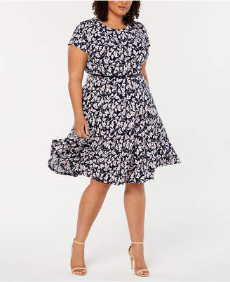 c28bacacb273 Jessica Howard Plus Size Belted Fit & Flare Dress