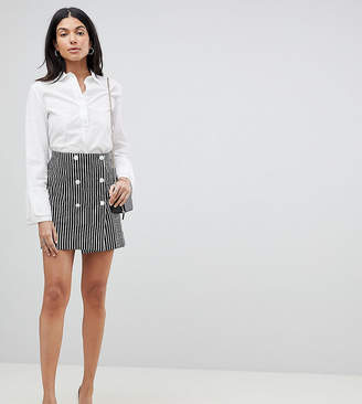 Asos Tall DESIGN Tall double breasted mini skirt In stripe