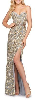 Mac Duggal Metallic-Leaf Embellished Strapless High Slit Gown