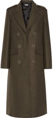 Karl Lagerfeld Lace-up Wool-blend Coat - Army green