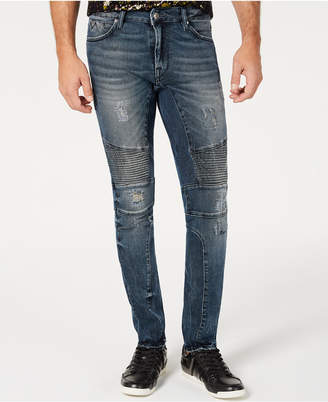 GUESS Men Moto Ripped Skinny Jeans
