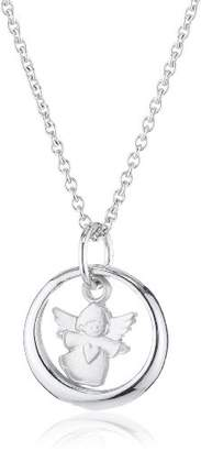 Camilla And Marc Xaana AMZ0178 Children's Pendant (Baptism Ring with Angel and Heart Motif) and Chain Necklace 36-38 cm (Matte Rhodium-Plated 925 Sterling Silver)