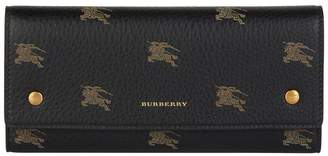 Burberry Leather Equestrian Knight Continental Wallet