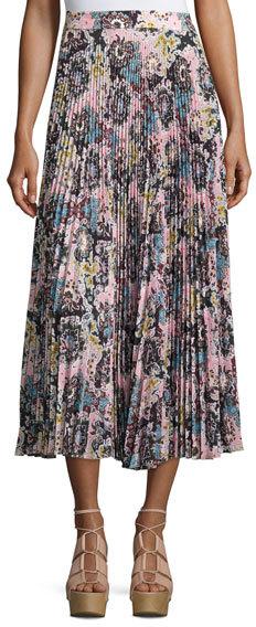 A.L.C.A.L.C. Williams Pleated Floral Midi Skirt, Blue/Mustard