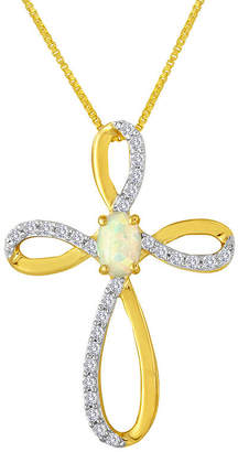 JCPenney FINE JEWELRY Lab-Created Opal and White Sapphire Cross Pendant Necklace