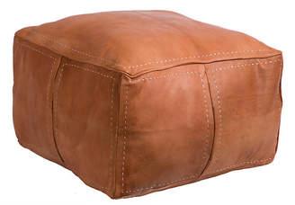One Kings Lane Contemporary Moroccan Leather Pouf - Tan