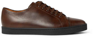 John Lobb Levah Cap-Toe Leather Sneakers - Men - Dark brown